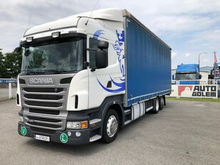 SCANIA R420 LB6x2 flatbed camión toldo