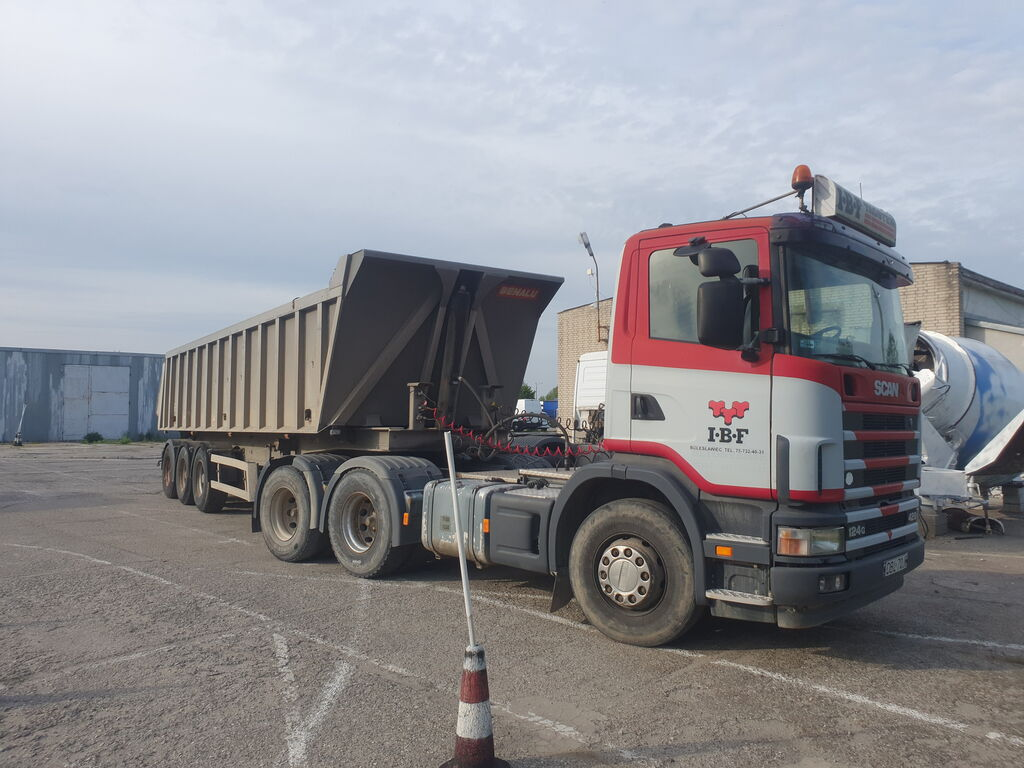 SCANIA 124L 420 6x4 + tipp hydraulic, manual, steel/air tractora